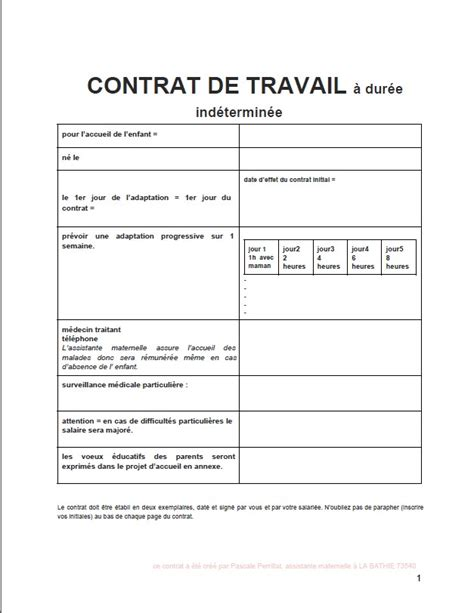 Modèle Contrat De Travail Assistant Maternel
