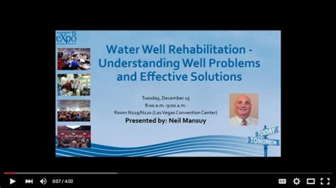 water well rehabilitation a practical guide to understanding well problems and solutions sustainable water well books ngwa expo speaker previews well rehab talk ground water