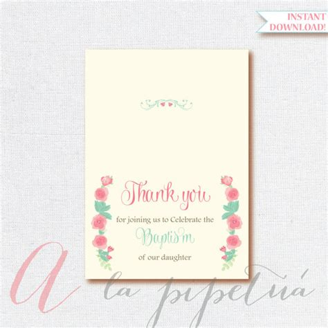 printable thank you cards foldable thank you card baptism thank you card foldable thank you