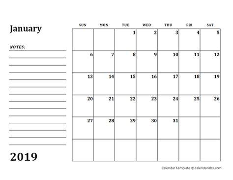 blank calendar template  notes  printable templates