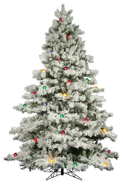 snowy alaskan cluster light tree 9 prelit flocked alaskan pine tree multicolor lights traditional trees by