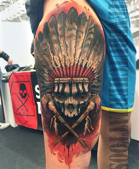 indian skull tattoos indian chief best ideas gallery