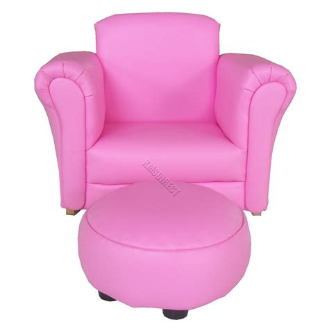 Childs Pink Leather Chair With Footstool by Child Children Furniture Arm Chair Sofa Seat On