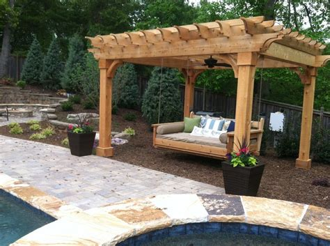swinging bed pergola and swing bed outdoor curtains pinterest