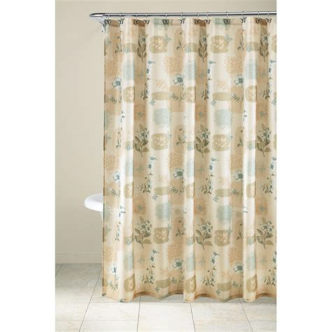 shower curtains walmart mainstays 13pc fabric shower curtain and decorative hooks