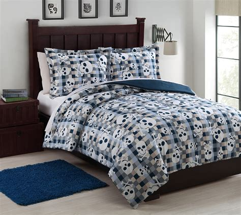 Microfiber Bedding Sets Microfiber Bonez Blue White Reversible Comforter Set
