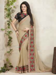 new sarees beige color embroider designer latest saree blouse sleeves