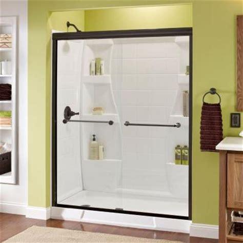 Home Depot Sliding Shower Doors Delta Mandara 59 3 8 In X 70 In Bypass Sliding Shower Door In Rubbed Bronze With Semi