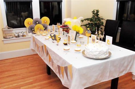 Baby Shower Table Decor by Yellow And Grey Baby Shower Guest Dessert Feature