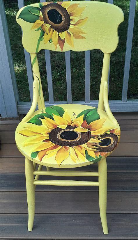 painted armchair hand painted sunflower chair by cherylschwierdesign