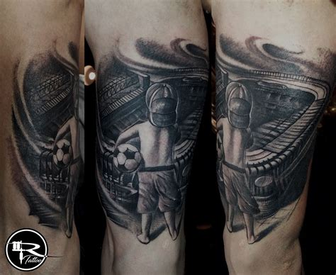 football tattoo ricardo wrocław pl black and gray