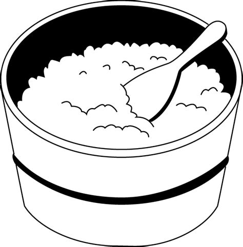 black and white cooked rice clipart clipart kid