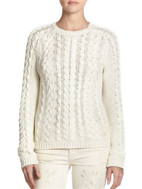 knit cotton sweater polo ralph cotton cable knit sweater in lyst