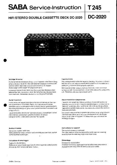 SABA DC-2020 SM Service Manual download, schematics
