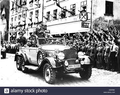 Hitler Auto by Adolf Hitler Being Hailed As He Rides In A Car In