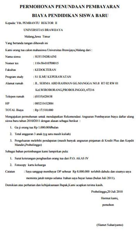contoh surat permohonan penundaan pembayaran biaya sekolah uang gedung