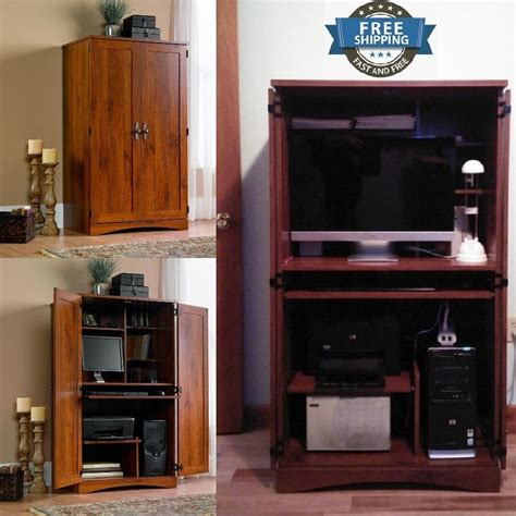 Home Office Armoire by Space Saving Durable Computer Armoire Hutch Cabinet Desk