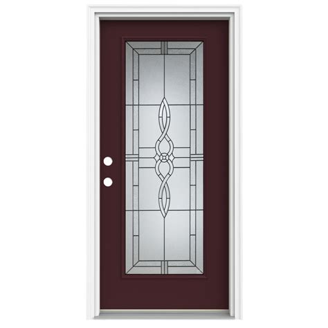 Lowes Doors Exterior Fiberglass Shop Reliabilt Lite Decorative Currant Prehung Inswing Fiberglass Entry Door Common 32 In