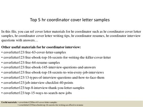 top 5 hr coordinator cover letter sles