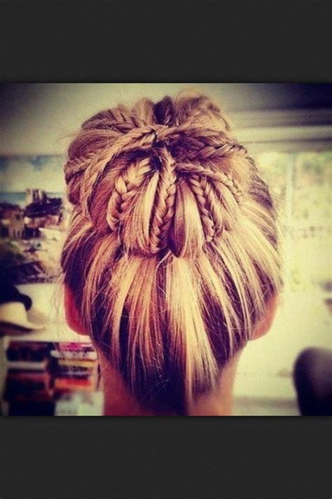 chigon blonde highlights braid bun blonde highlights hair pinterest