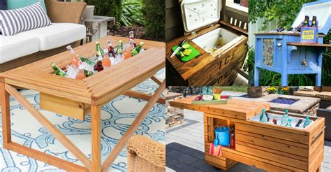 Patio Table Cooler Remodelaholic Brilliant Diy Cooler Tables For The Patio With Built In Coolers Sinks And