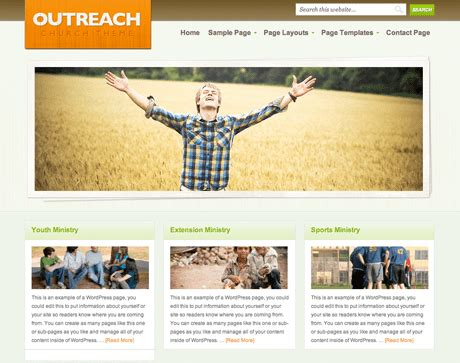 website ideas outreach and genesis wordpress theme review church