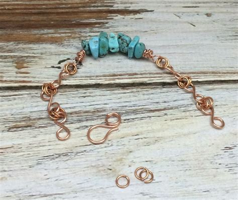 Handmade Wire Bracelets - handmade copper and turquoise bracelet mixed kreations