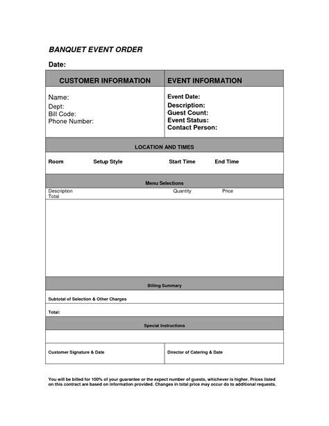 banquet order form template 10 best images of banquet template event
