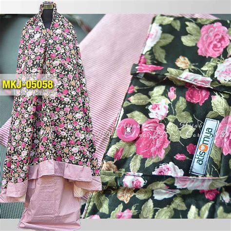 Mukena Batik Pastel mukena katun jepang mkj 05057 motif bunga warna pink pastel