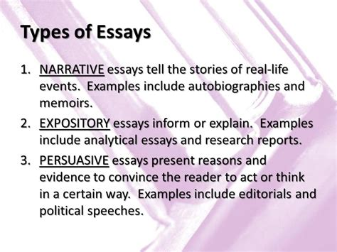 What Are The Types Of Essays by Unit 6 Literary Nonfiction Ppt