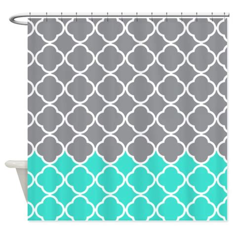grey pattern turquoise manduca gray and turquoise quatrefoil pattern shower curta by