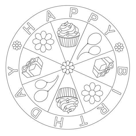 birthday mandala coloring pages happy birthday mandala for pre k kindergarten and