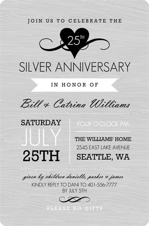 25th anniversary invitation card templates 25 best ideas about wedding anniversary invitations on