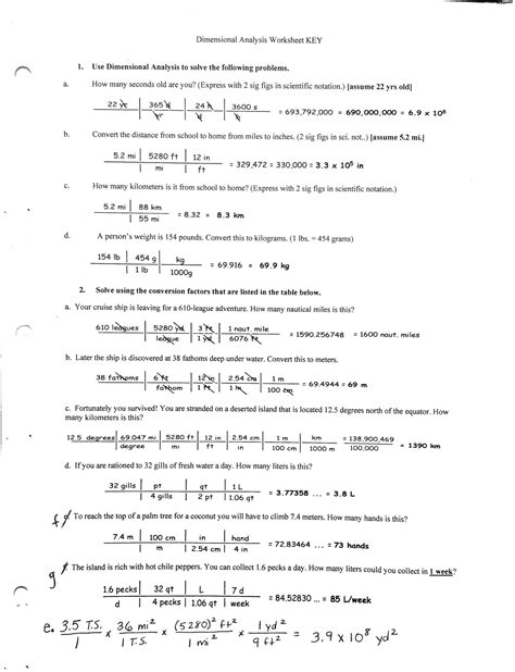 Dimensional Analysis Problems Conversion Factors Worksheet Answers 13 best images of metric conversion problems worksheet