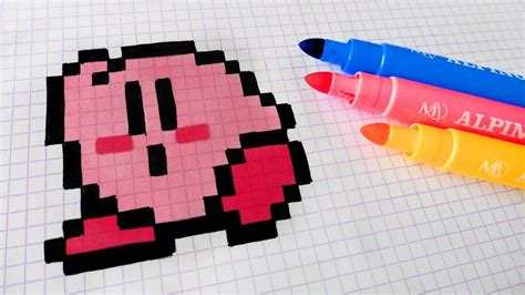 C Drawing Pixels by Handmade Pixel How To Draw Kawaii Kirby Pixelart