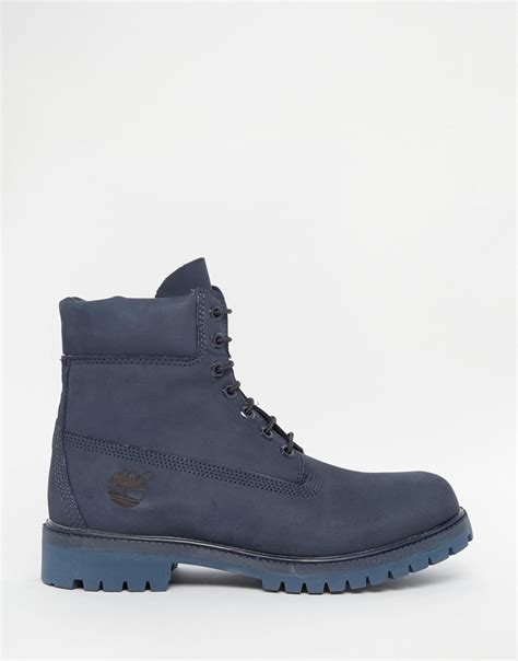 blue timberland boots timberland icon 6 inch leather premium boots in blue lyst