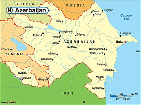 political map of azerbaijan nations online project azerbaijan political map by maps com from maps com