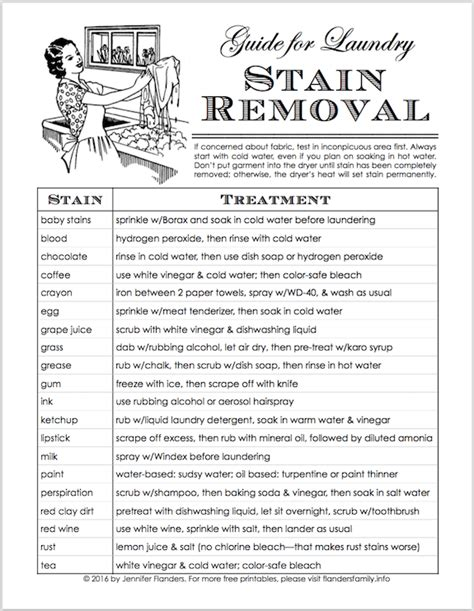 10 Best Stain Removal Tips by Large Family Laundry Tips Free Stain Removal Chart