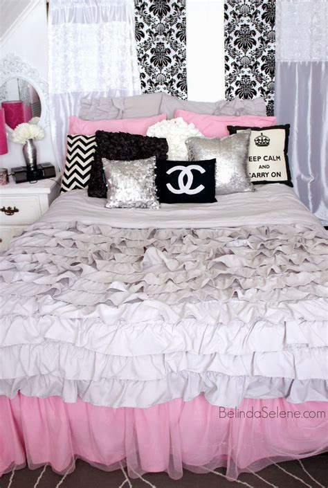 Pink Themed Bedroom - chic pink white and black bedroom chanel themed room www belindaselene com room decor