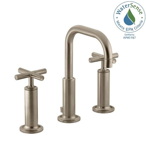 brushed bronze bathroom faucets kohler purist 8 in widespread 2 handle mid arc bathroom