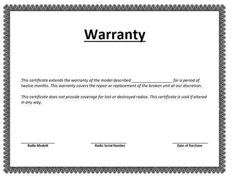 warranty certificate template word templates