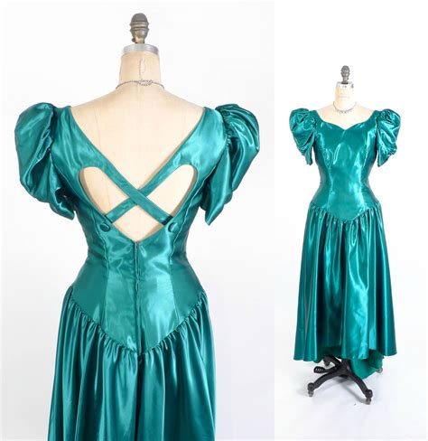popular 80s prom color vintage 80 s prom dress teal fishtail prom gown