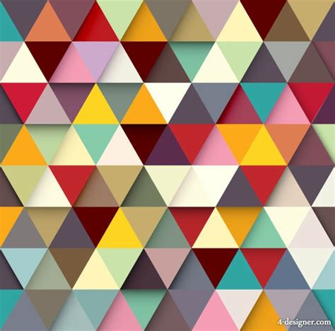 color patterns 4 designer color triangle puzzle vector material