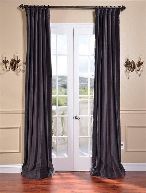 Grey Velvet Curtains Iron Grey Vintage Cotton Velvet Curtains Drapes Ebay