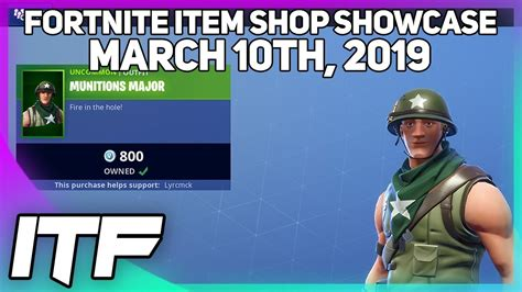 fortnite item shop  munitions major skin march