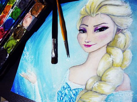 elsa painting frozen elsa watercolor time lapse painting disney