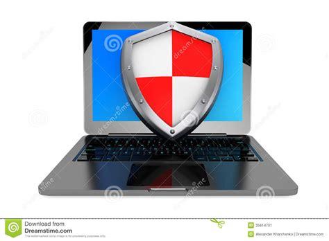 Anti Virus Laptop antivirus concept laptop computer protected by shield