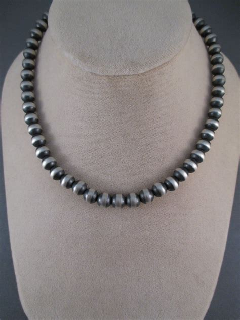 oxidized sterling silver bead necklace