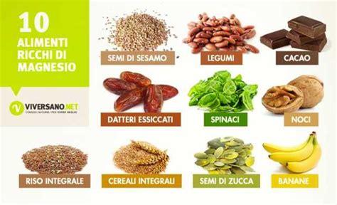calcio e alimenti alimenti ricchi di magnesio quali sono ecco 10 alimenti