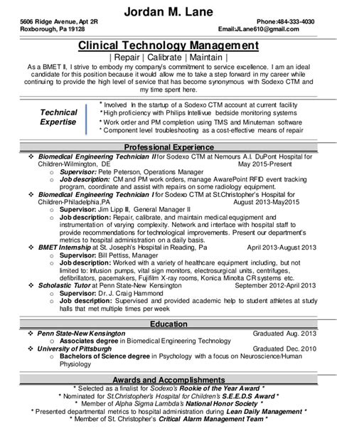 bmet resume resume ideas